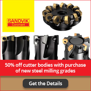 Sandvik Coromant Promotion: 50% off cutter bodies with purchase of new steel milling grades